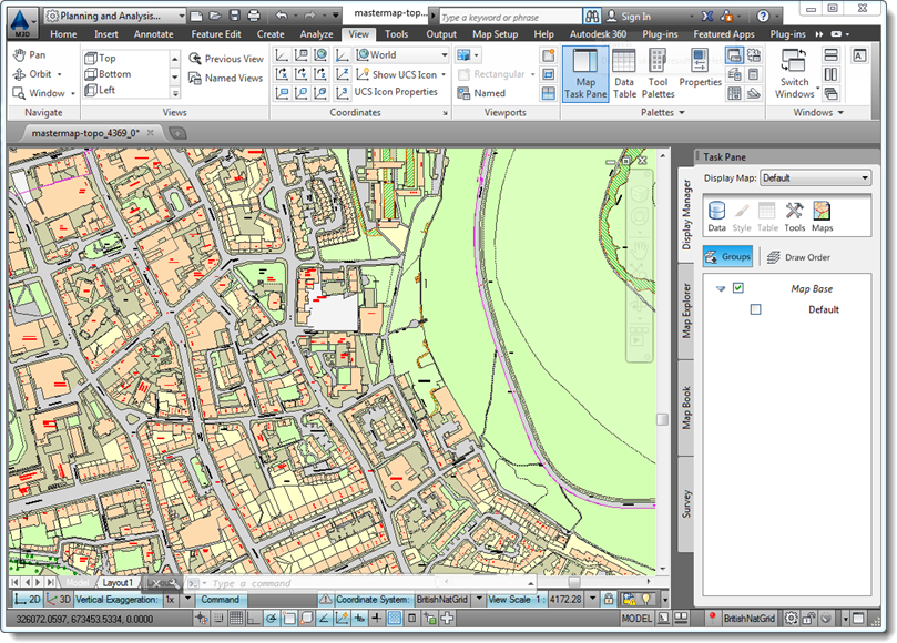 A screenshot of a map illustrating Autocad Map 3d software