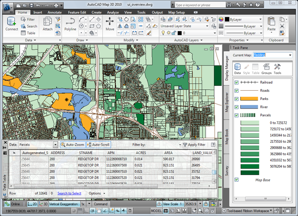 An image of a map illustrating the interface of Autocad Map 3d software